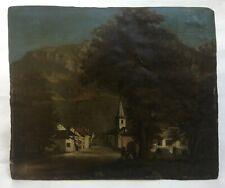 Tableau ancien, Huile sur papier marouflé, Village de montagne animé, Fin XIXe
