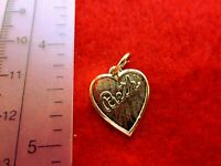 14 KT GOLD PLATED  HEART SHAPED BRUSHED BETH  NAME CHARM PENDANT
