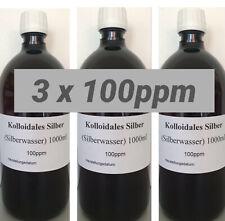 3 x Kolloidales Silberwasser 1000ml, 100ppm, hochrein, hochkonzentriert, frisch!