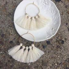 Boho Summer Earrings Off White Cream Tassel Fringe & Gold Plated Hoop Urban