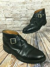 Alfred Sargent Black Leather Buckle Ankle Boots Men's 10 US Made in England