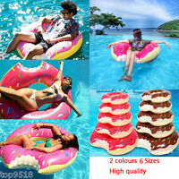 Inflatable Swim Ring Giant Fun Bite Shape Donut Swimming Pool Water Float Raft