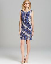 Nwt Diane Von Furstenberg 100% Silk NEW Della Python Blue Whit/purpl Dress Sz.10