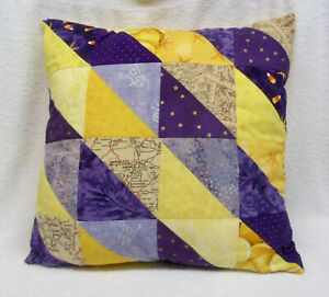 "Travel Theme Throw PILLOW 14""x 14"" hand made Purple Yellow 1 of a kind UNI"