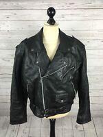 Vintage Leather Biker Jacket - XL - Black - Great Condition - Men's