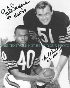 DICK BUTKUS AND GAYLE SAYERS SIGNED AUTOGRAPH AUTO 8x10 RPT PHOTO CHICAGO BEARS