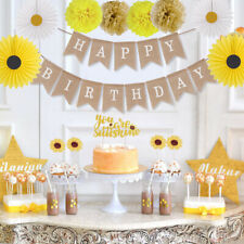 Yellow Sunflower Boy Girl Happy Birthday Banner Cupcake Toppers Party Supplies