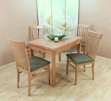 Essgruppe 5-tlg. Esstisch-Ausziehbar Stühle Stuhl Tisch Farbe: Buche-Natur/Oliv