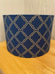 Lampshade in a blue and gold geometric print, various sizes, ceiling or lamp