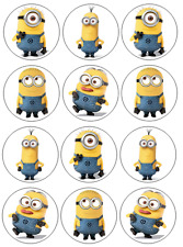 12 PRECUT Minions Edible Wafer Paper Cupcake Toppers