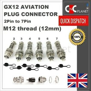 GX12 Aviation Plug 2 3 4 5 6 7 Pin 12mm Metal Male Female Panel Cable Connector