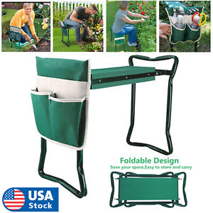 Garden Kneeler Seat Foldable Soft Kneeling Pad Bench Portable Stool +Tool Pouch