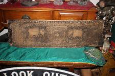 HUGE Antique India Hinduism Wood Carving-Elephants Symbols Scrolls-Plank Wood