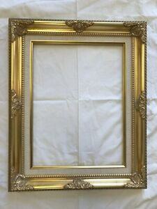 """Picture Frame- 11x14"""" Ornate Gold Color with Linen Liner- Wood/Gesso- #B5G"""