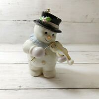 Snowman Violin Player Christmas Tree Ornament Music Theme Fiddle Violinist