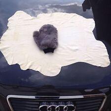 SHEEPSKIN MITT + CHAMOIS LEATHER CAR POLISHING LAMBSWOOL WASHING CLEANING POLISH