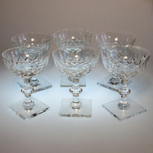 Set of 6 Hawkes Crystal Champagne Glasses Cornwall Pattern Square Base Signed