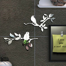 Birds Tree Acrylic Siler Plastic Mirror Wall Art Washroom Decal Decor Sticker