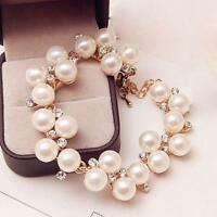 Fashion Chain Jewelry Charm Cuff Bracelet Pearl Rhinestone Crystal Bangle