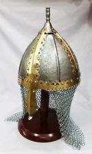 Medieval Norman Viking Spectacle Helmet With Cain-mail Gjermundbu Armor Helmet
