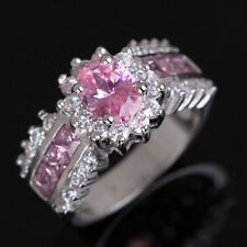 Band Size 9 Pink Sapphire Halo 18K Gold Filled Princess Cut Fashion Wedding Ring
