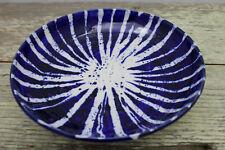 """New ListingCeramic Handcrafted Bowl Cobalt Blue & White Prieto Obata 8"""" Usa"""