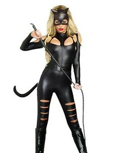 Sexy PVC Catsuit Cat Woman Fancy Dress 4 Piece Complete Outfit Spandex Halloween