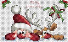 Papá Noel y Reno Tarjeta Tamaño Punto de Cruz Kit Completo #4-14