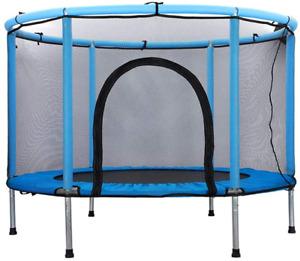 WONDERHOO Kids Trampoline with Safety Enclosure Net, Fitness Trampoline Built-in