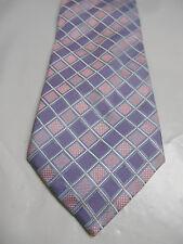 Valerio Garati Light Purple Pink Blue and White Check Woven Silk Necktie