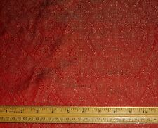 "Gold/Red Silk Brocade Jacquard 100% Silk Fabric 44"" Wide, By Yard (JD-394)"
