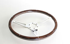STEERING WHEEL BILLET ALLOY 14 INCH 3 SPOKE WOOD GRAIN 6 BOLT WHEEL