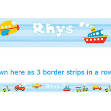 CUTE VEHICLES with BLUE STRIPES personalised WALL BORDER strips bedroom nursery
