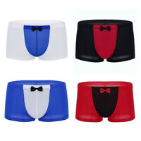 Men's Ice Silk Underwear Boxer Briefs Shorts Bulge Pouch Underpants Breathable