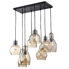 The Light Store Mariana 8-Light Cognac Glass Cluster Pendant in Antique Black
