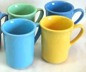 4 Coffee Tea Cocoa Mugs Cups BLUE GOLD GREEN Colors Ceramic 8.5 oz FREE SH