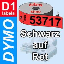 DYMO D1 Schriftbandkassette 53717 schwarz auf rot 24mm red S0720970 ORIGINAL
