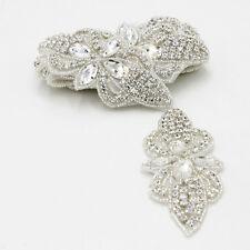 Glass Beaded Rhinestone Applique Trims Sewing for Bridal Dress Belt Sash 1 Yard