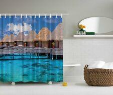 Tropical Lake Tiki Digital Print Shower Curtain Paradise Aqua Water Bath Decor