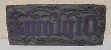 Vintage Diploma Metal Amp Wood Letterpress Printing Block Type Nice