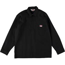Ben Davis Long Sleeve Half Zip Work Shirt Solid Black