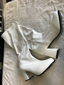 White Heeled Knee High Boots Size 11