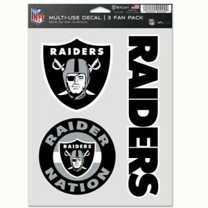 OAKLAND RAIDERS 3 PIECE MULTI-USE DECAL FAN PACK NFL LICENSED
