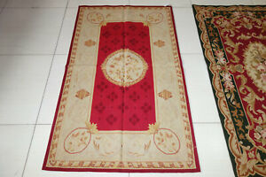 3'x5'Elegant Red Cream Pastel Rose Vintage Royal Home Decor Aubusson Area Rug