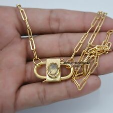 Yellow chain with Ovel golden Rutile Gemstone Padlock Necklace exclusive jewelry