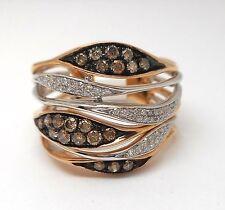 14K Rose And White Gold Round Diamond Right Hand Ring Retail $1500 Jg1