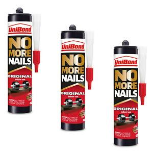 3 x 365g UniBond No More Nails Original Grab Adhesive Glue Wood Metal Plaster