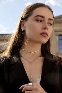 Y Kette Lasso Halskette Necklace Edelstahl Massiv Klobig 60 cm Silber