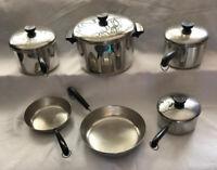 REVERE WARE 10 Piece SET 4 Pots, 2 Skillets, & 4 Lids fit All, Aluminum Bottom