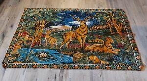 """Vintage Tapestry Wall Hanging Rug Elk 72"""" x 46"""""""